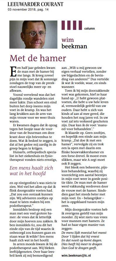 Leeuwarder Courant nov 2018 Met de Hamer